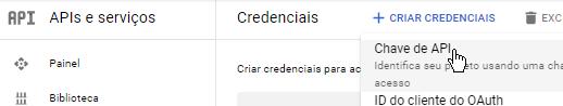 CRIAR CREDENCIAIS - Chave da API