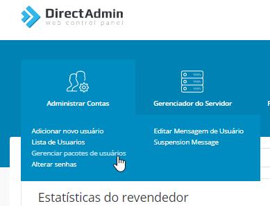 Revenda Hospedagem Directadmin - Gerenciar pacotes de usuários