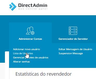 Lista Usuários - Revenda DirectAdmin