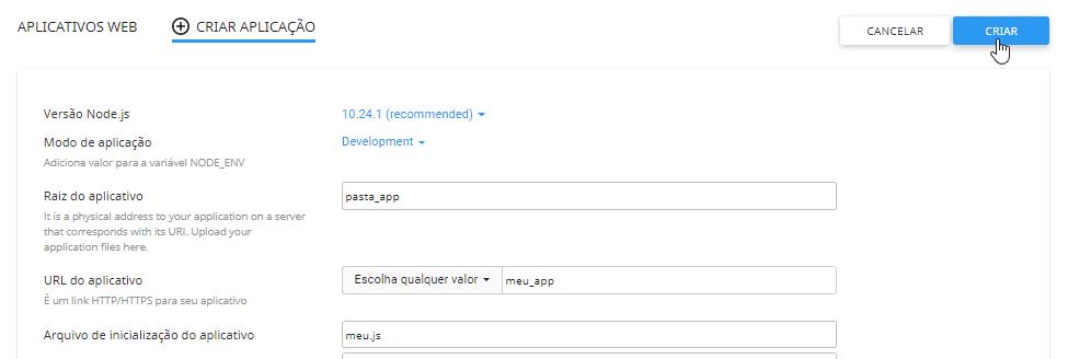 Criando Aplicativo Nodejs no Painel DirectAdmin