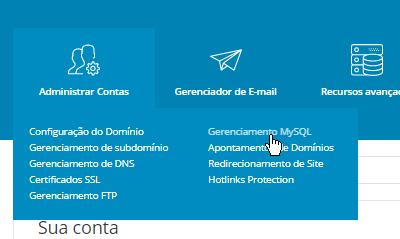 Painel de Controle DirectAdmin Gerenciamento MySQL